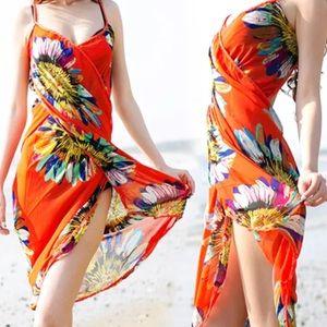 NWOT Orange Floral Scarf Wrap Sarong Swim Cover Up